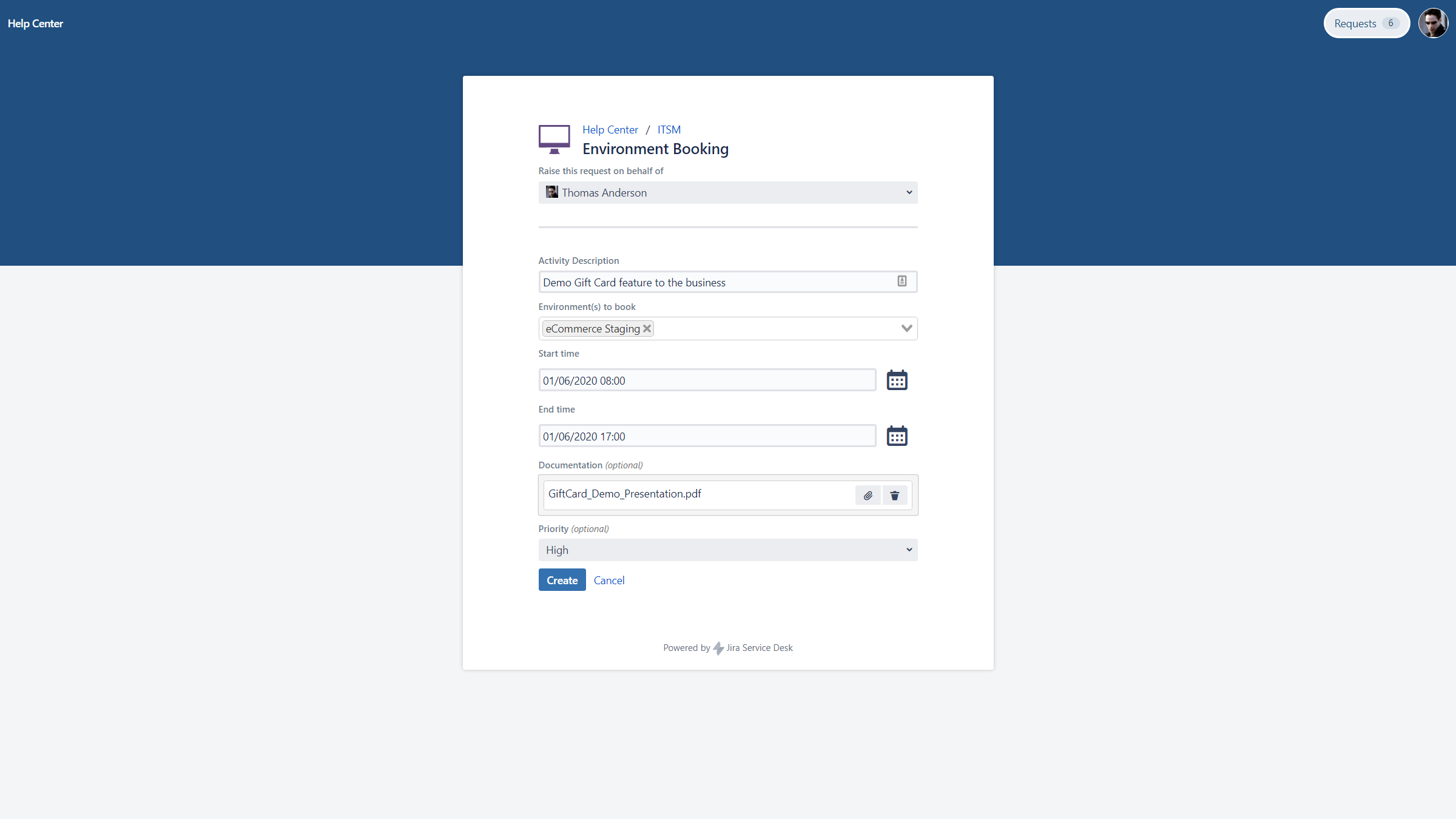 Environment Booking Request with Golive on Jira Service Desk
