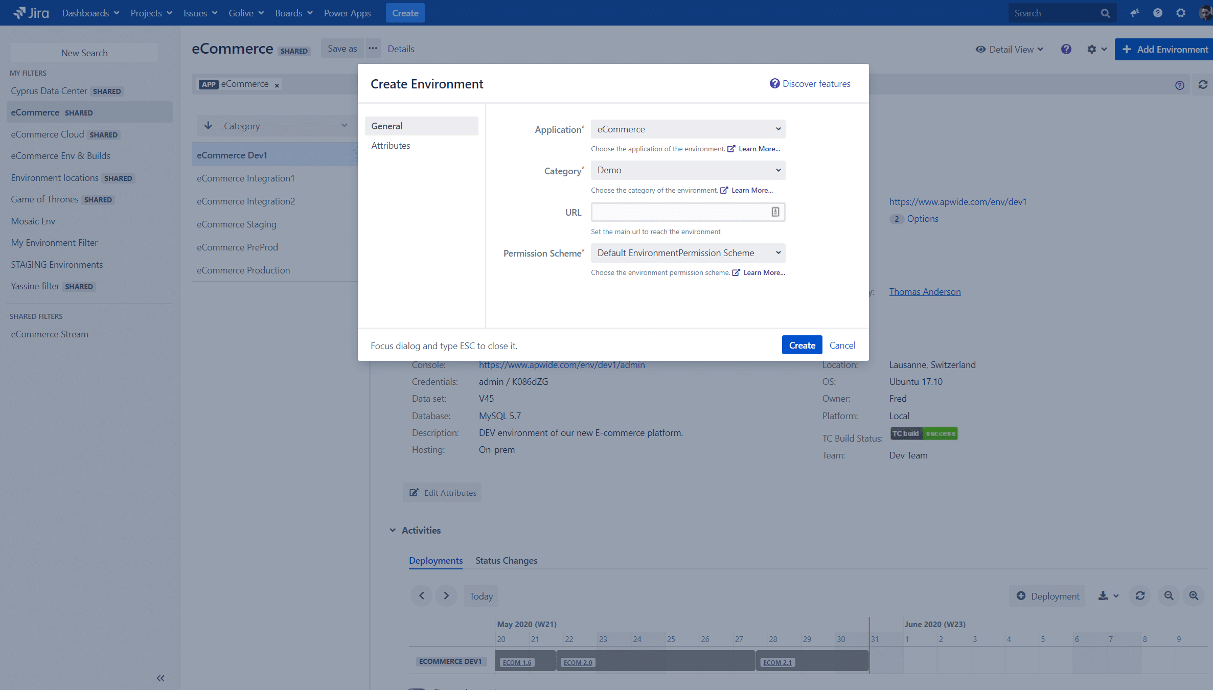 Jira can provision new Environments on Azure or AWS with Golive