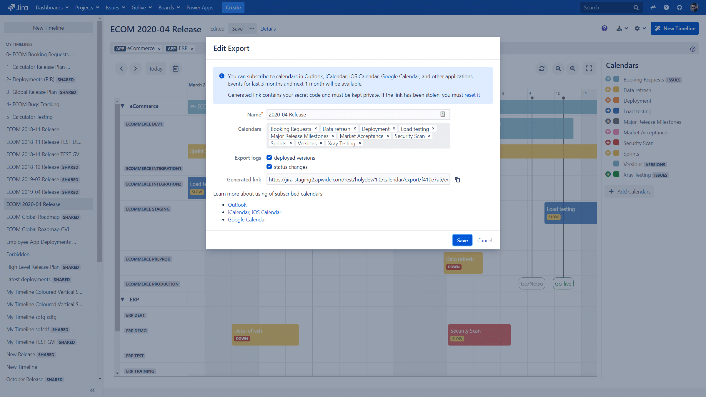 Jira Environment Timelines export in iCal format with Golive