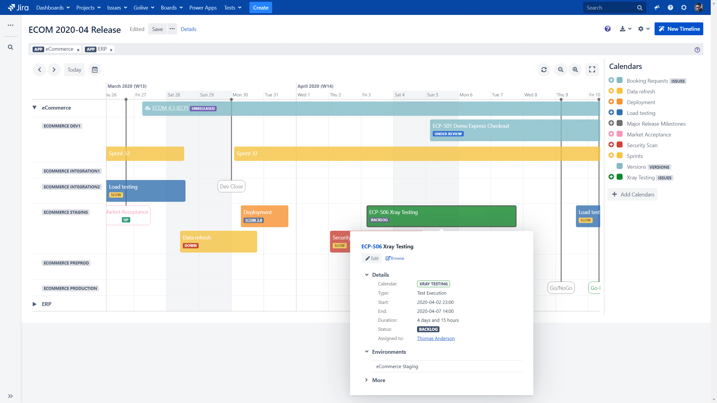 Timeline to show all Environment Activities with Jira and Golive