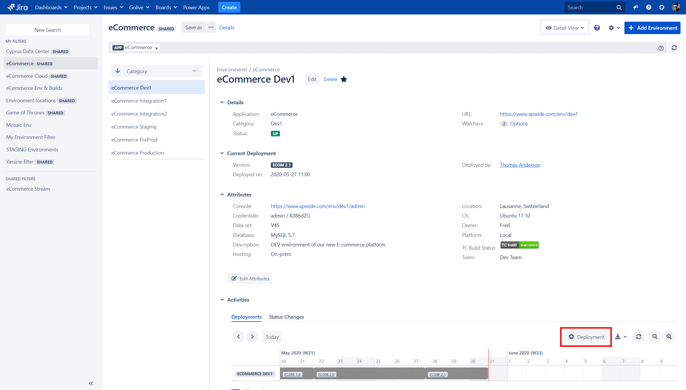 Trigger Deployment on an Environment with Golive for Jira