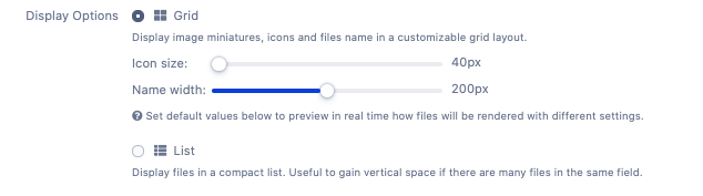 Display options for Jira File Field