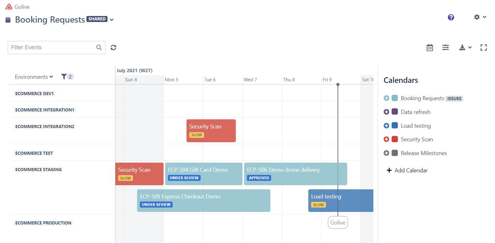 Jira Environment Booking Timeline