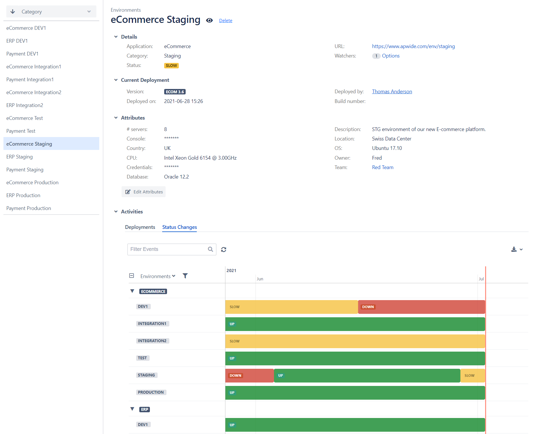 Jira Golive Environment Hub with status and deployed versions