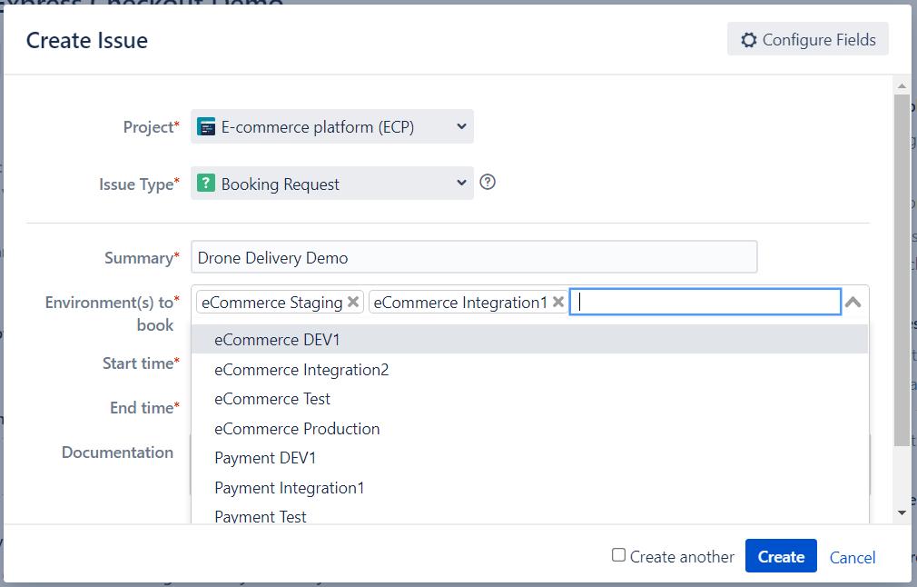 Jira Booking Request Environment Custom Field