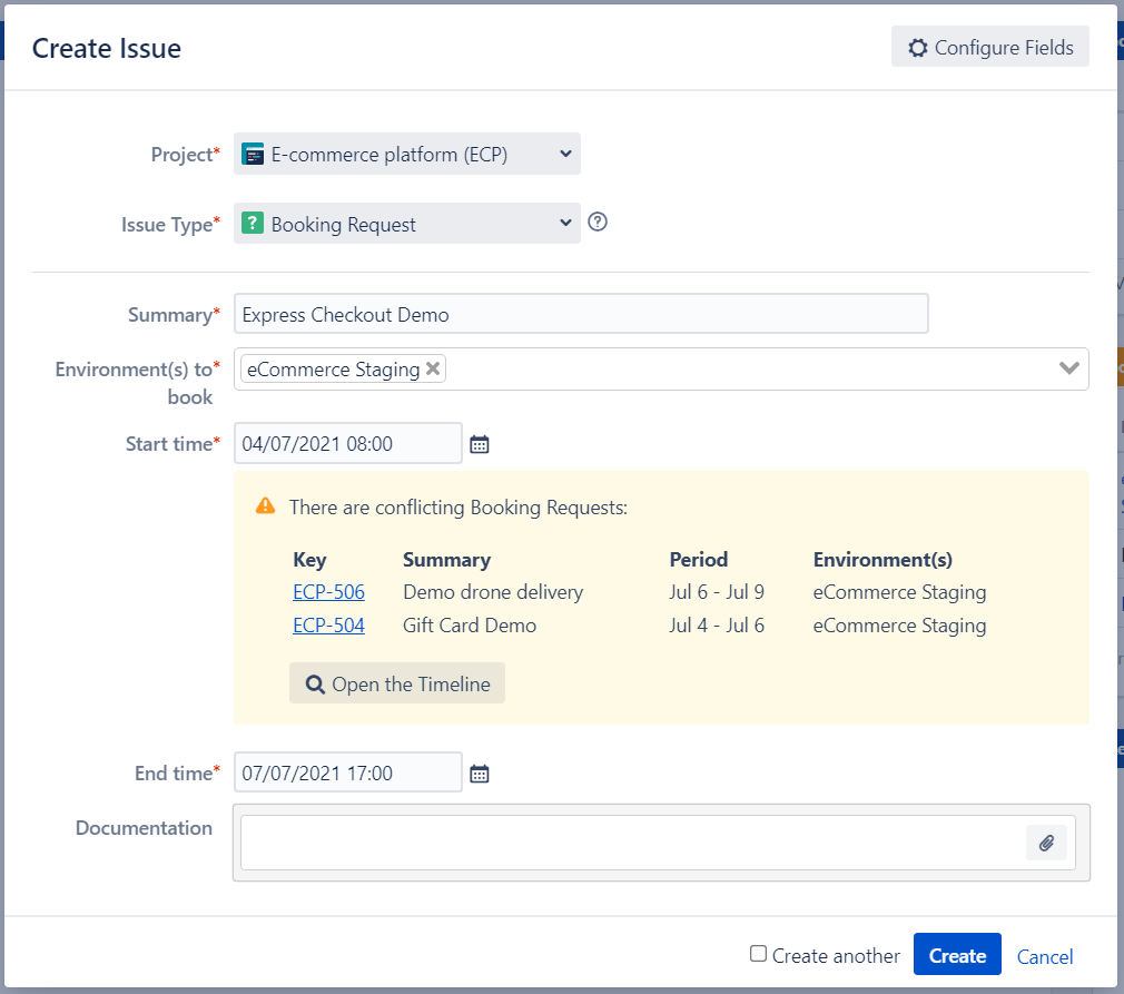 Jira Test Environment Booking Request with Conflict Management